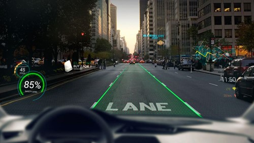 Car being driving with augmented reality features in the HUD